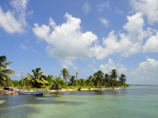 A small boat docked at the Turneffe Islands in Belize.