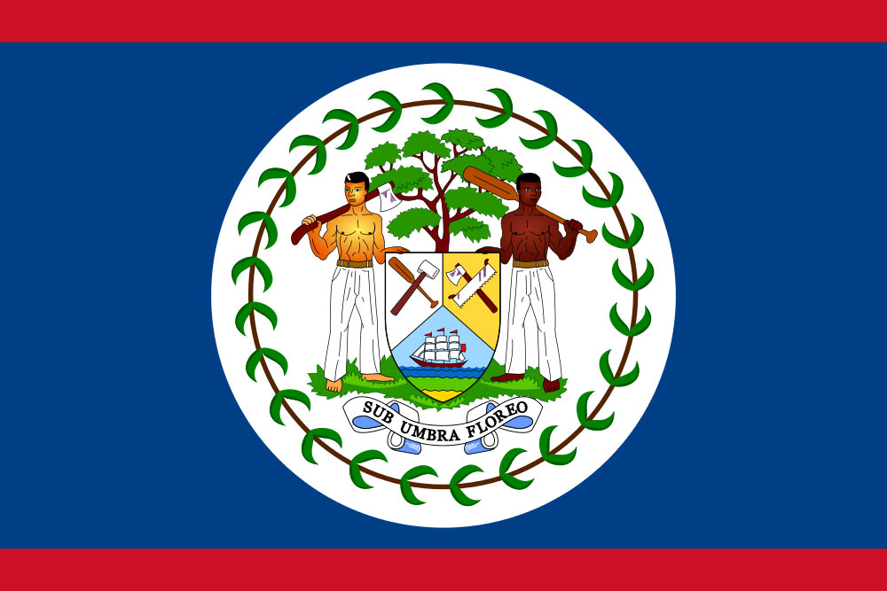 A blue field with a red strip across the top and bottom bears the coat of arms of Belize.