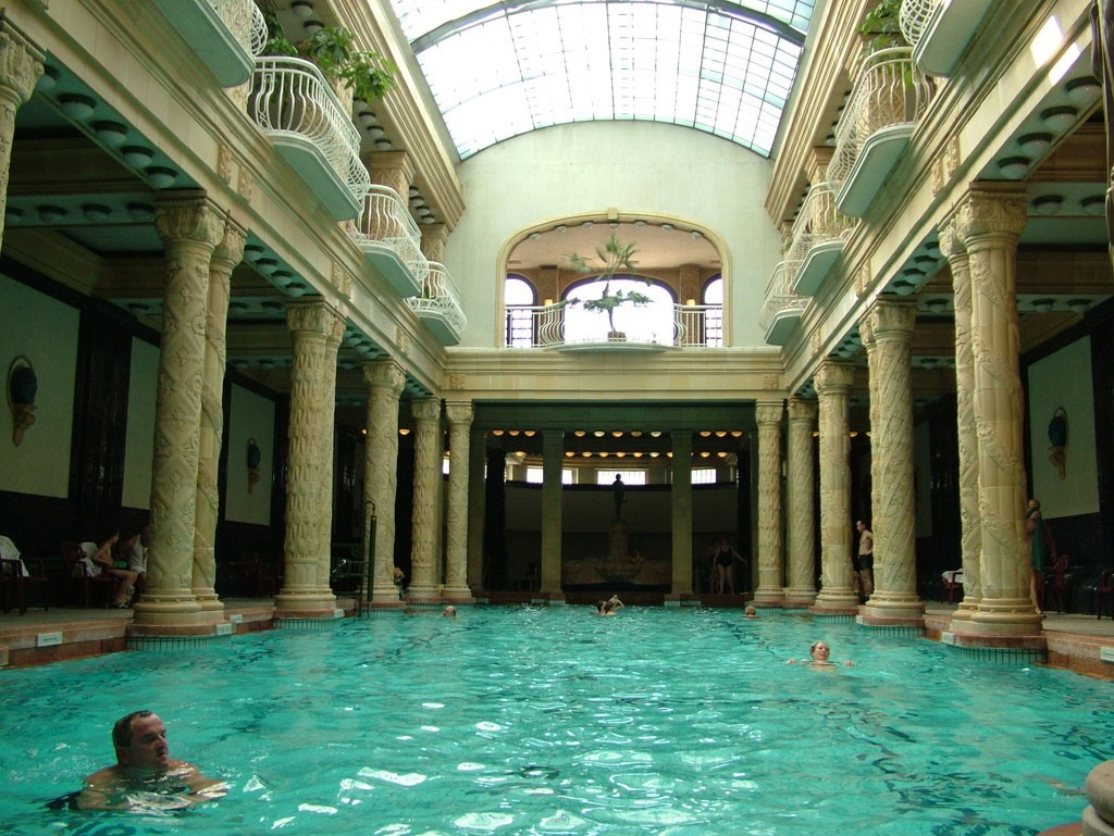 The indoor pool at Gellért Baths in Budapest.