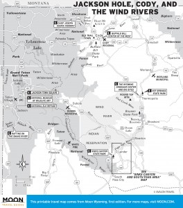 Travel map of Jackson Hole, Cody, and the Wind Rivers in Wyoming