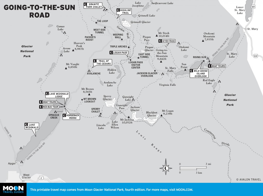Map of Going-to-the-Sun Road