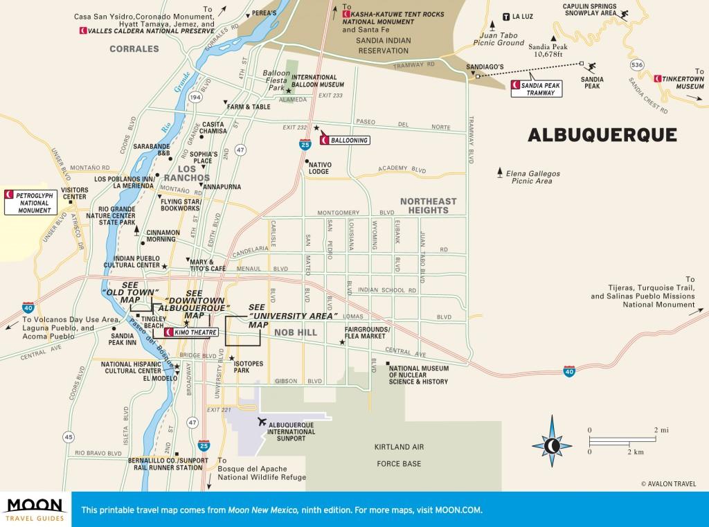 Travel map of Albuquerque, New Mexico