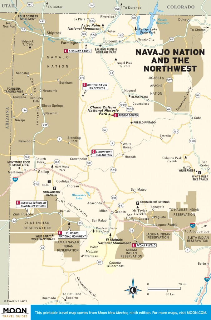 Travel map of Navajo Nation and Northwest New Mexico