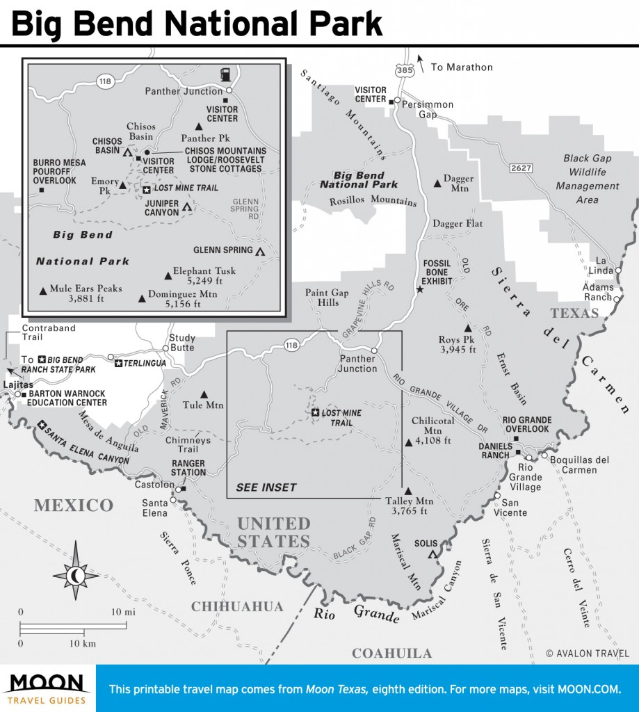 Travel map of Big Bend National Park, Texas