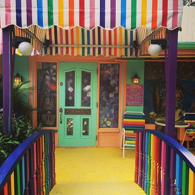 The colorful entrance to the Bubble Room in Captiva, Florida.