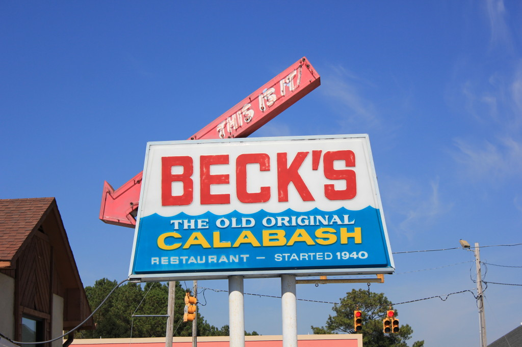 A photo of the sign outside Beck's Calabash Seafood