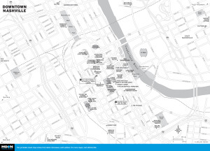 Map of Downtown Nashville, TN