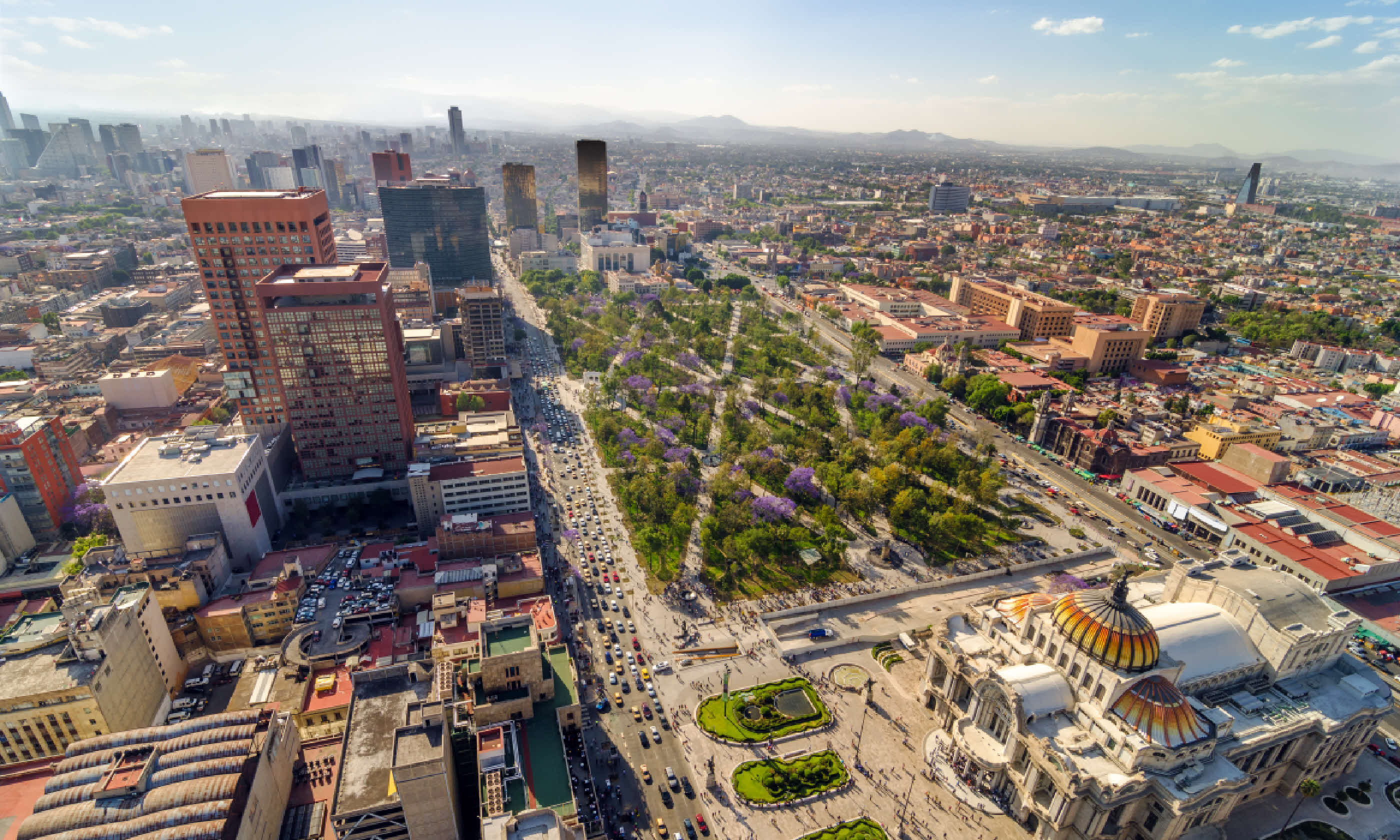 An aerial view of Mexico City and the Palace of Fine Arts (Shutterstock: see credit below)