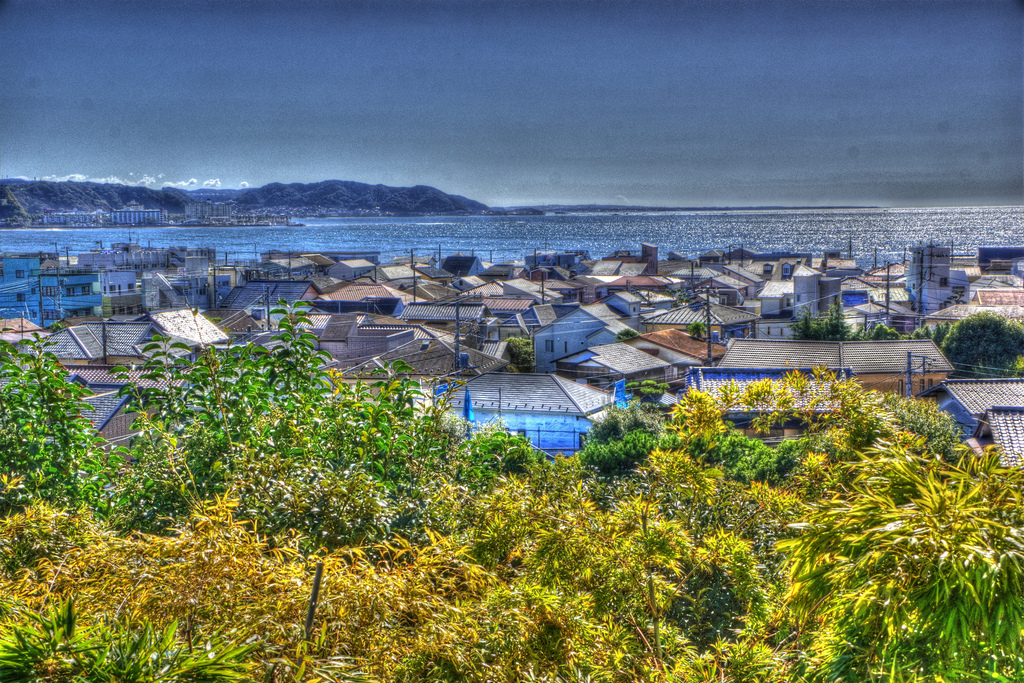 Kamakura City and sea