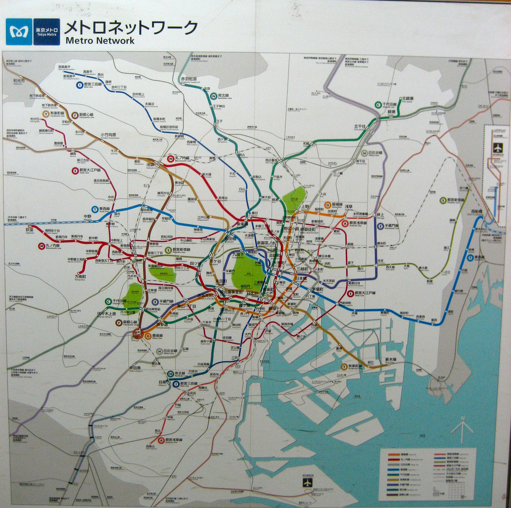 Tokyo Subway Map In English In The Station.Tokyo Metro Subway System Japan