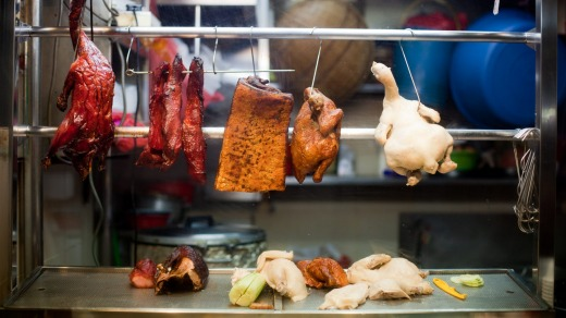Roasted meats at hawker stall.