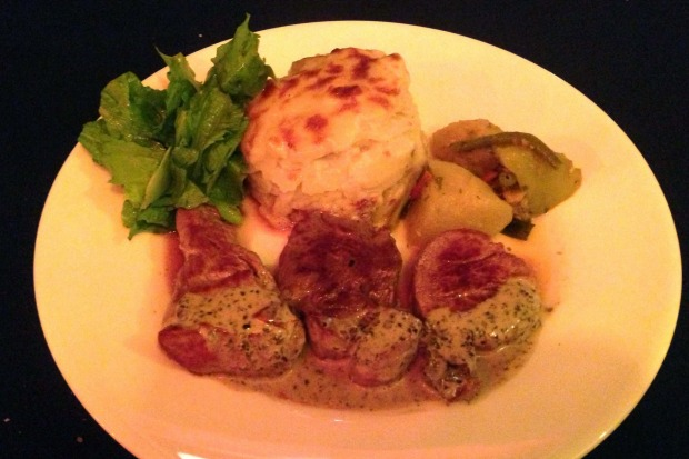 French from top to toe: A dish at L'Houstalet Restaurant.