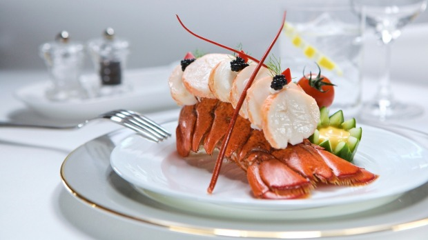 Fine dining in the sky: Lobster tail starter in Emirates business class.