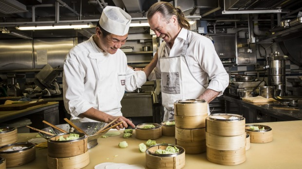 Dumpling master Fong Li Hing (left) with chef Neil Perry.