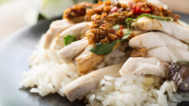 Singaporean favourite: Hainanese chicken with marinated rice.