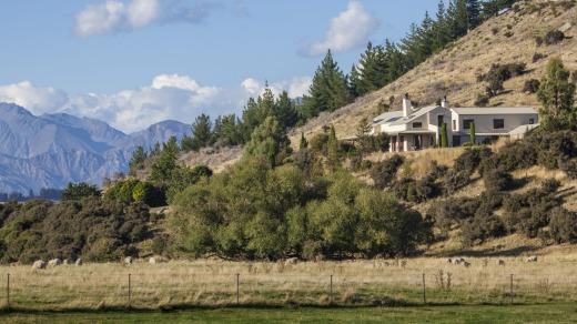 Riverun Lodge tucked into a hillside.