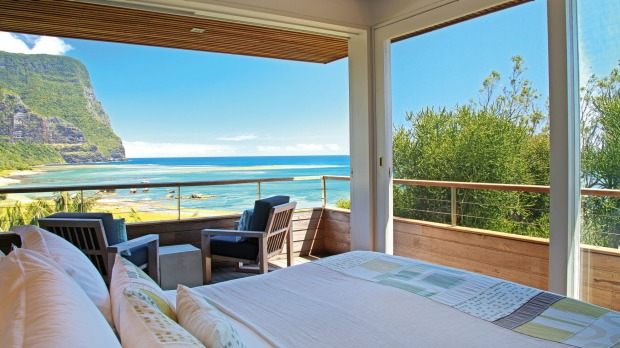 The lap of luxury: Capella Lodge on Lord Howe Island is tucked into the hillside and hidden by a thicket of shrubbery.