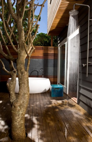 An open-air shower is just one of the features of Lidgbird Pavilion.