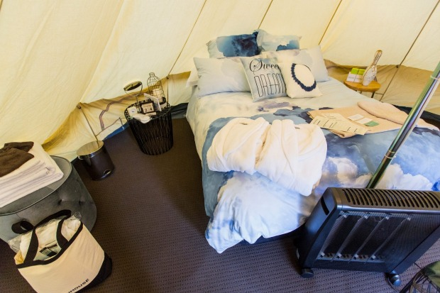 There's a wonderful sense of 'high-end African explorer' about the interior the tent.