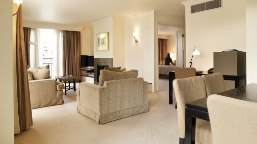 The Lyall's platinum suite is a symphony in beige and mushroom.