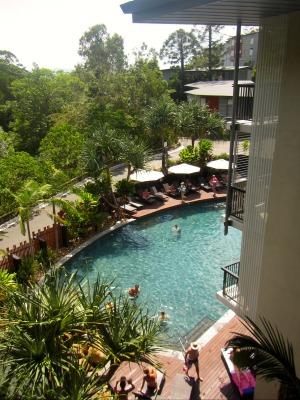 Main resort pool, balcony view.