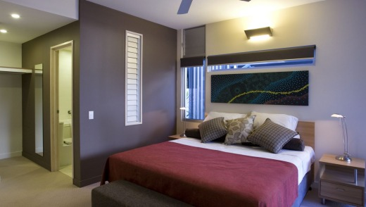 Master bedroom in a two bedroom apartment.
