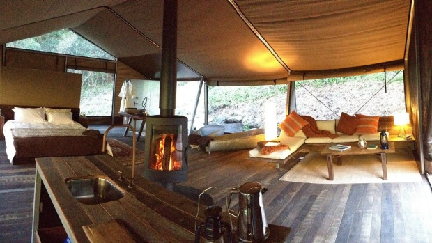 Inside a luxury tent, complete with kitchen - Nightfall Wilderness Camp.